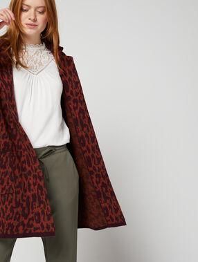 Chaqueta larga de lana estampado de leopardo rojo.