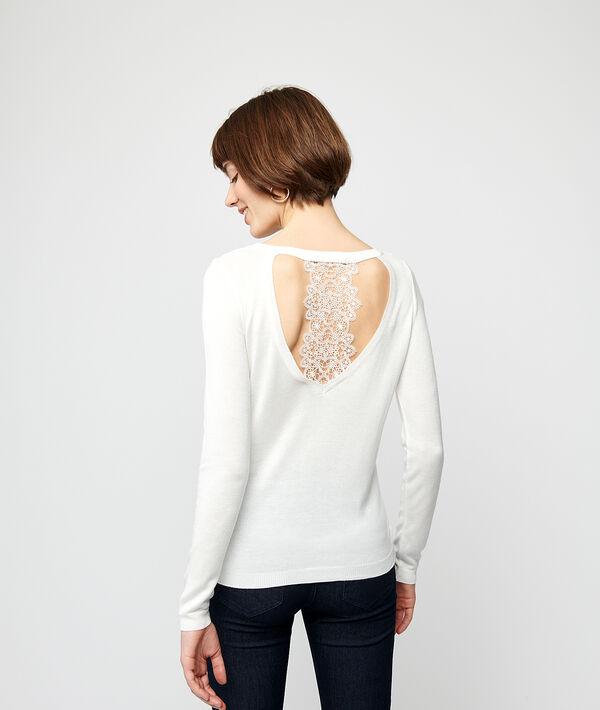Jersey punto fino y espalda de guipur