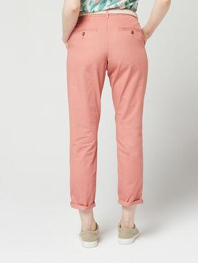 Pantalón con cinturón de algodón bio rosa.