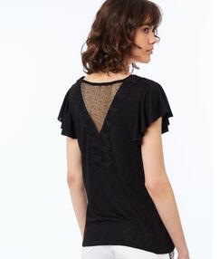 Camiseta escote en v guipur negro.