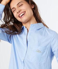 Chemise rayée en coton ciel.