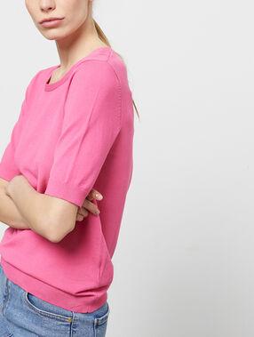 Jersey manga corta cuello redondo rosa.