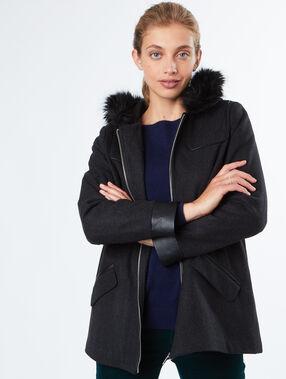 Manteau en laine à capuche fausse fourrure gris chine fonce.