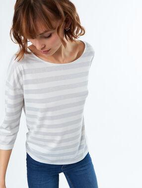 Camiseta manga 3/4 estampado a rayas crudo.