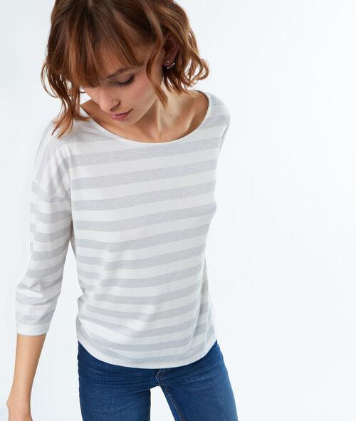 Camiseta manga 3/4 estampado a rayas