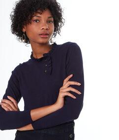 Jersey cuello con botones azul marino.