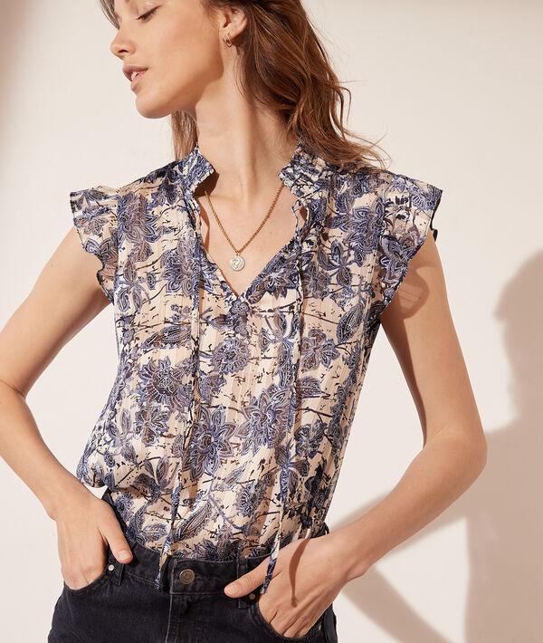 Blusa estampado floral, hilos metalizados