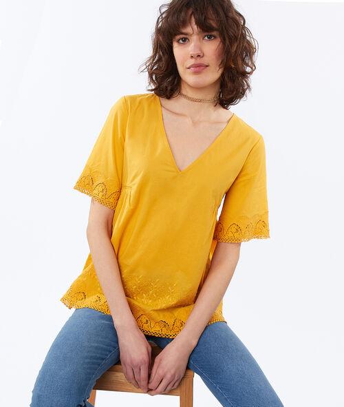 Blusa escote en V motivos de guipur