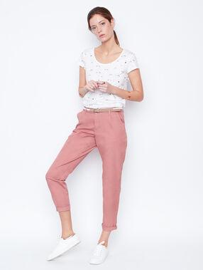 Camiseta manga corta estampado flamenco blanco.