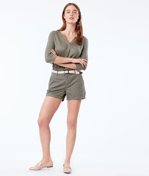 Pantalón corto con cinturón 100% algodón bio