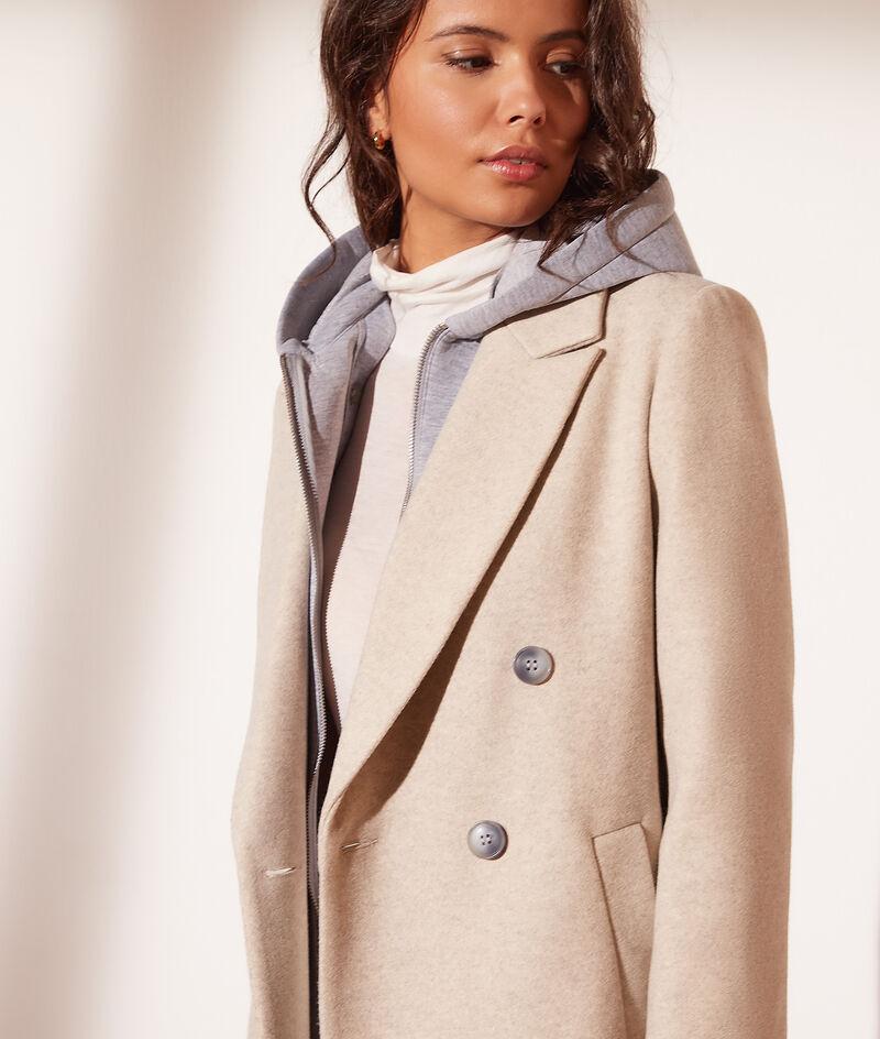 Abrigo corte recto, capucha extraíble