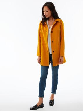 Abrigo 3/4 lana mezclada amarillo.