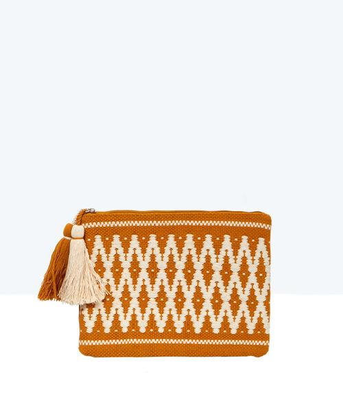 Bolso de mano con estampado azteca y pompones