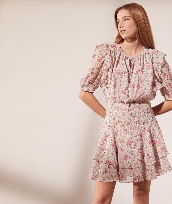 Vestido estampado floral, motivos de encaje