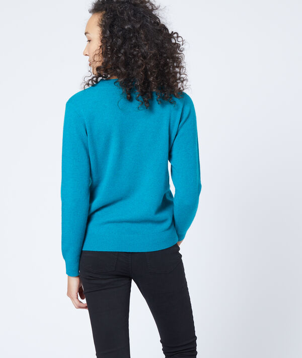 Suéter con cuello en V de cachemira