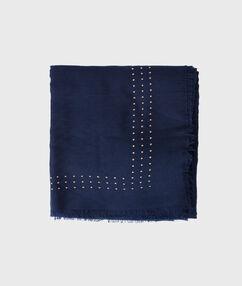 Foulard à petits clous bleu nuit.