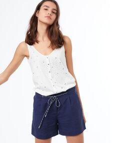 Pantalón corto lino con lazada azul marino.
