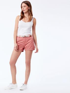 Pantalón corto con cinturón 100% algodón bio rosa.