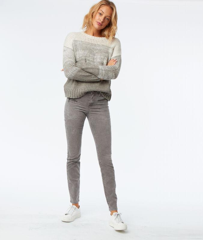 Pantalón estrecho de terciopelo c.gris jaspeado.