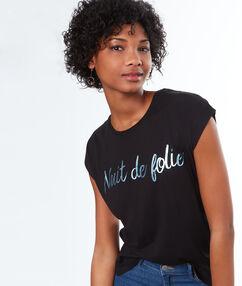 """T-shirt imprimé """"nuit de folie"""" noir."""