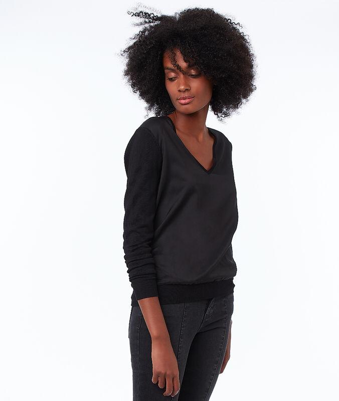 Jersey escote en v dos texturas negro.
