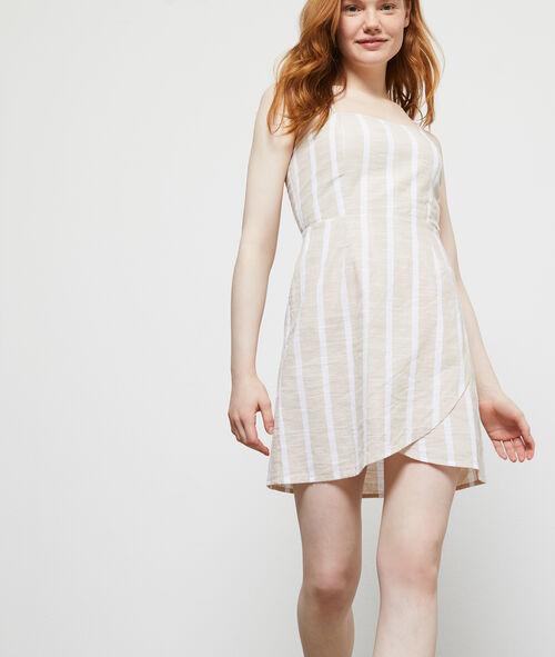 Vestido cruzado a rayas en algodón