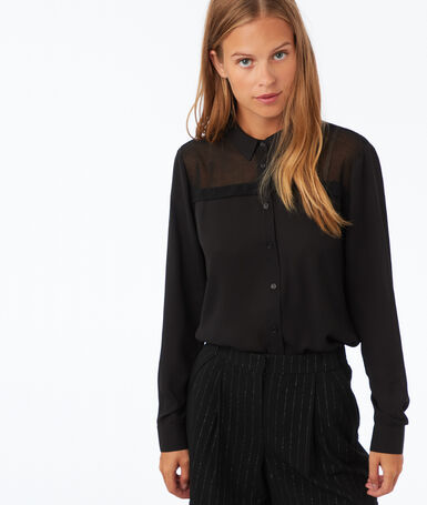 Camisa lisa manga larga negro.