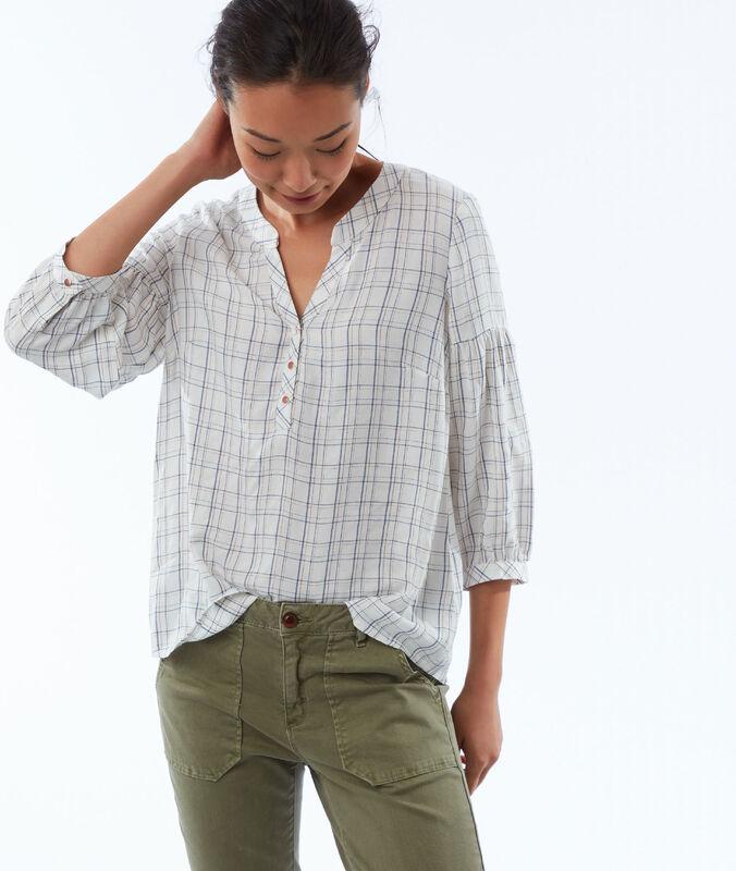 Blusa estampado de cuadros crudo.