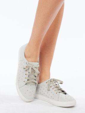 Zapatillas tachuelas doradas c.gris jaspeado.