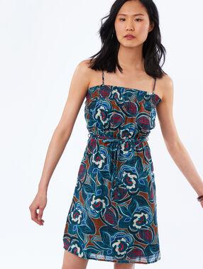 Vestido de tirantes estampado floral azul marino.