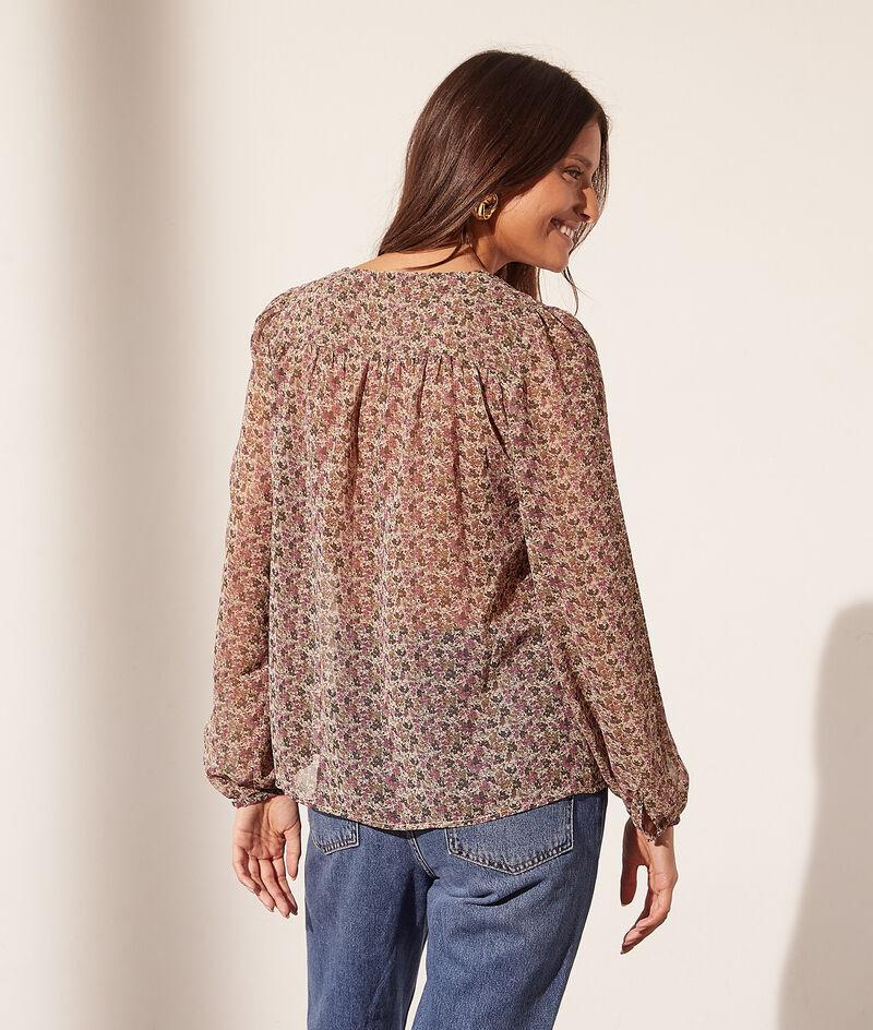 Camisa escote en V, estampado floral