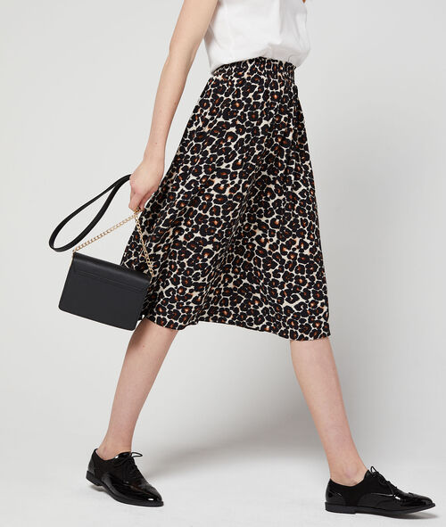 Falda holgada estampado de leopardo