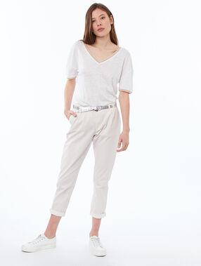 Camiseta lino escote en v blanco.
