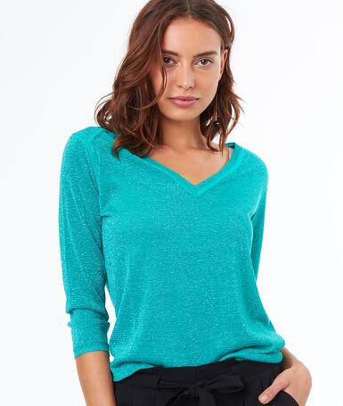 Jersey escote en v verde menta.