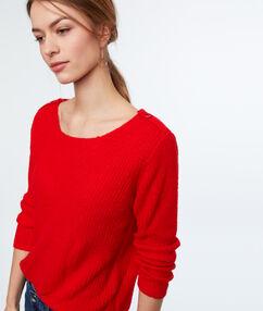 Jersey cuello barco liso rojo.