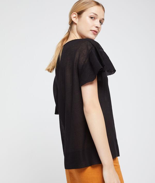Camiseta efecto transparente de punto fino