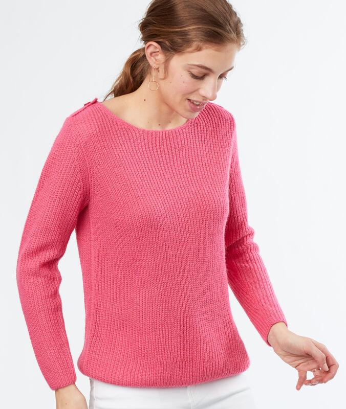 Jersey cuello barco liso rosa.