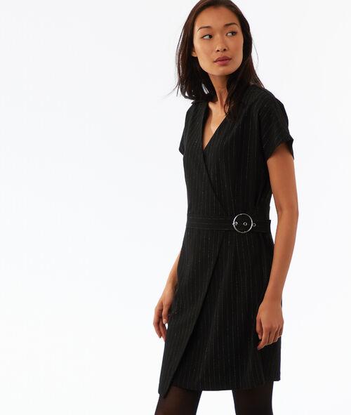 Vestido con cinturón raya diplomática fibras metalizadas