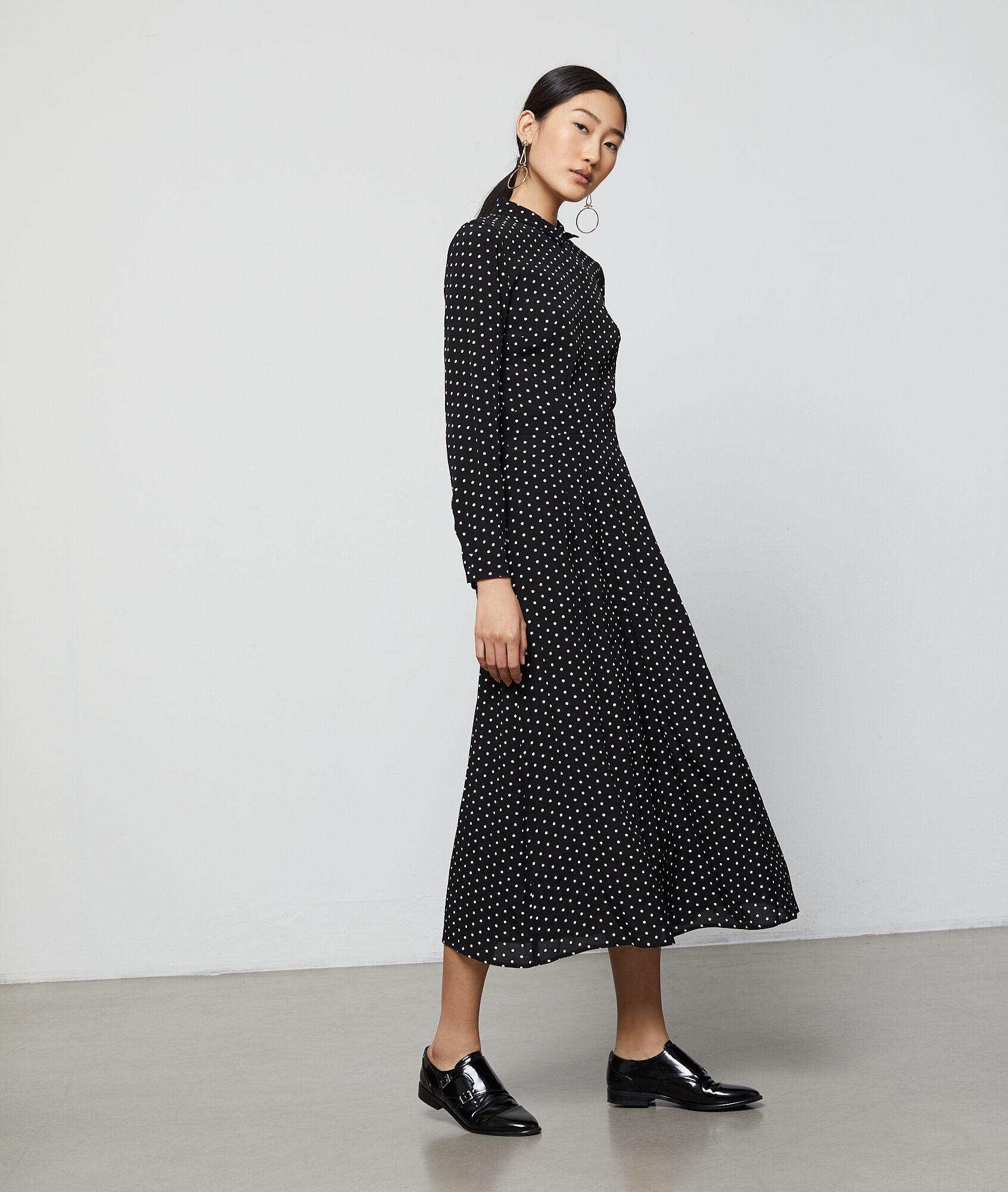 Vestido camisero lunares negro