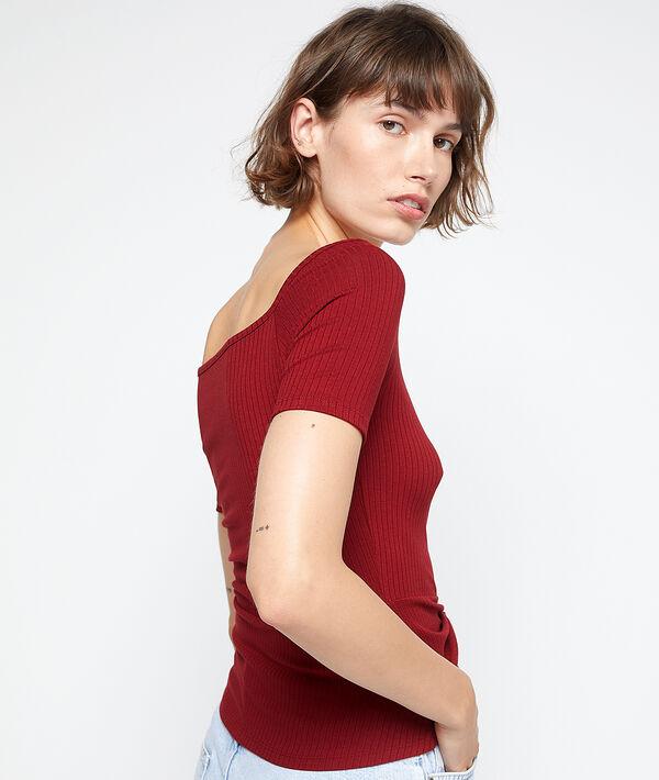 Camiseta acanalada anudada