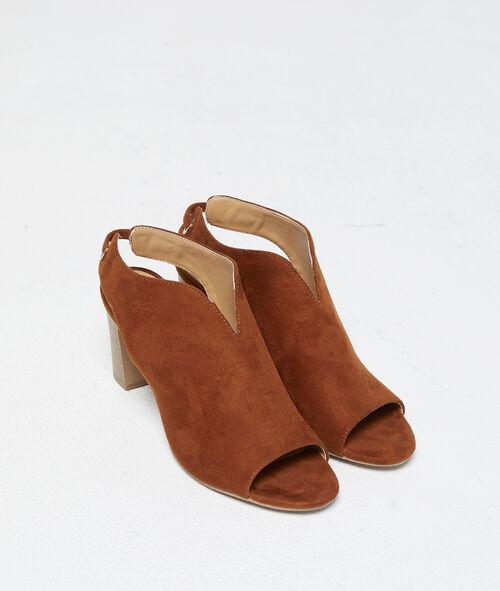 Sandalias con tacón efecto ante