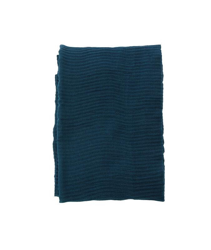 Bufanda fibras metalizadas turquesa.