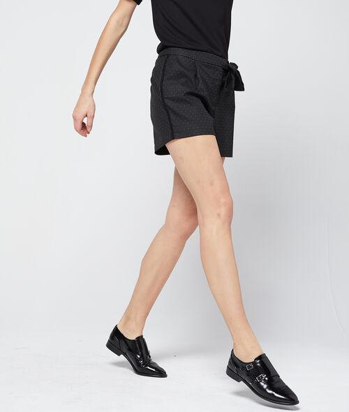 Pantalón corto con lazada estampado de lunares