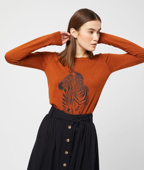 Suéter de punto fino con cebra