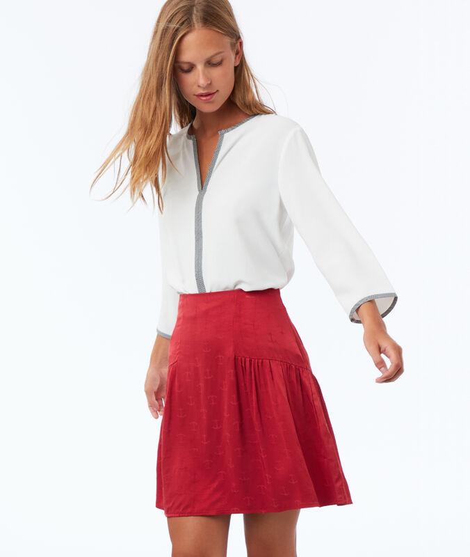 Falda estampado áncoras frambuesa.