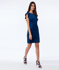 Vestido liso ajustado azul.