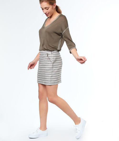 Falda recta estampada a rayas