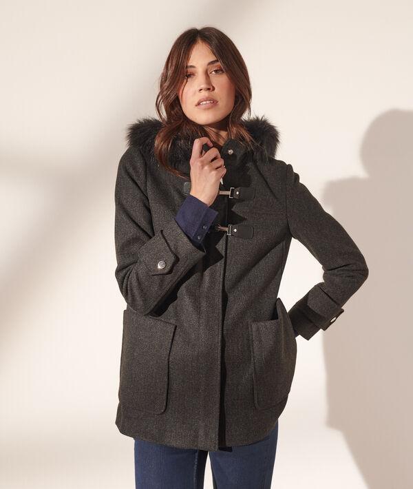 Abrigo con capucha, pelo sintético