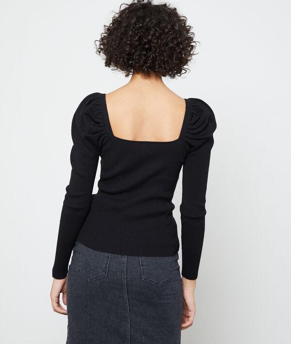 Suéter de punto fino, mangas abombadas