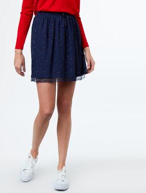 Falda estampada azul marino.